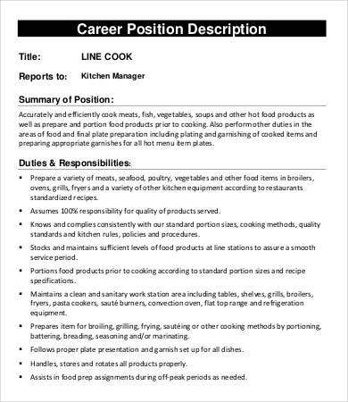 professional line cook job description kitchen manager job description - Food Preparer Job Description