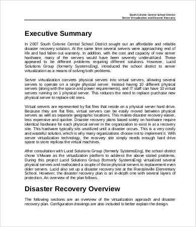 Disaster Recovery Plan Example - 8+ Free Word, PDF Documents ...