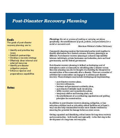 post disaster recovery plan example