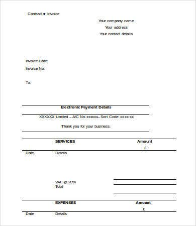 Free Printable Contractor Invoice Template