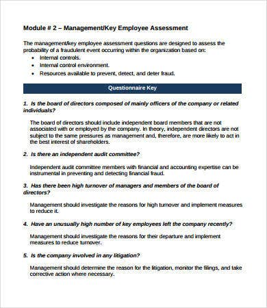 company employee assessment