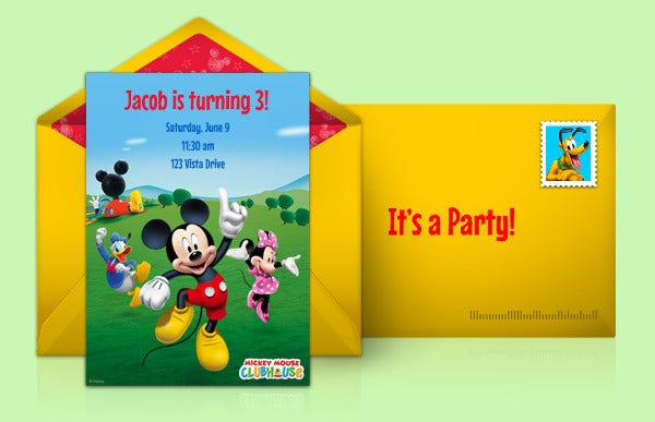 Mickey Mouse Invitation Card