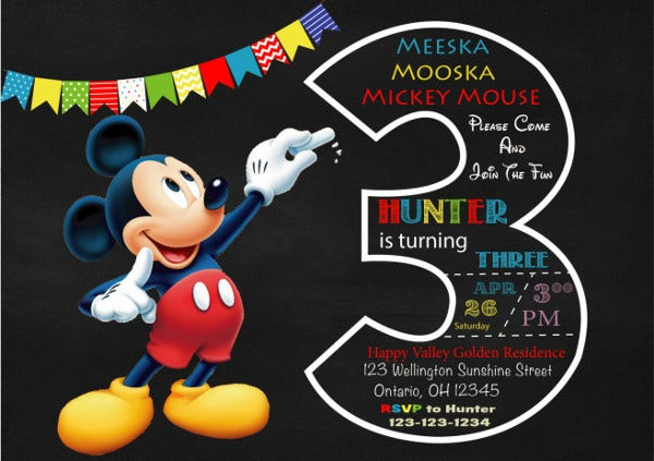 Printable Mickey Mouse Invitation