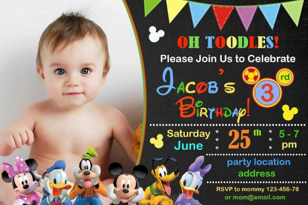 Baby Mickey Mouse Invitation