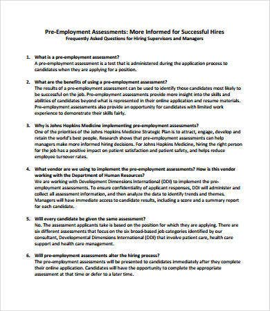 pre employee assessment