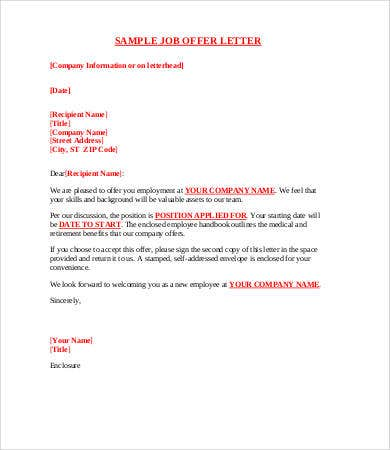 8 Sample Offer Letters Free Sample Example Format Free