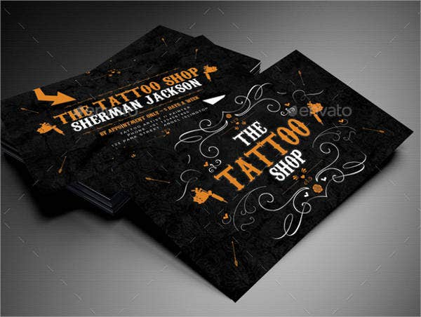 9 best artist business cards free premium templates for Tattoo business card templates