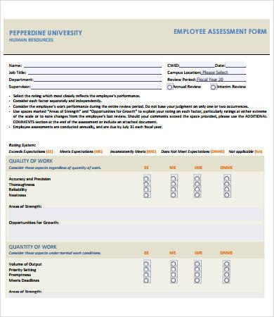 employee assessment form
