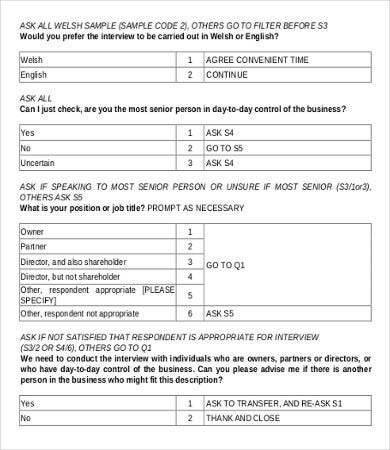 Sample Survey Questionnaires  Free Sample Example Format