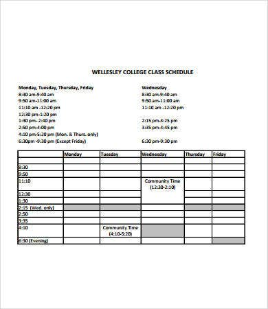 College Class Schedule Template   Free Pdf Documents Download