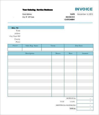 Blank Catering Invoice Template