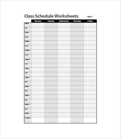 class schedule worksheets template