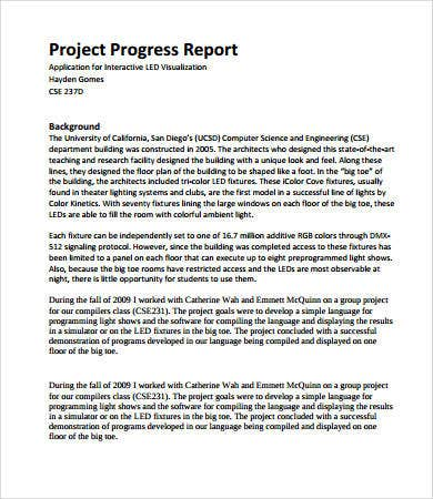 Project Progress Report Format  Format For Report