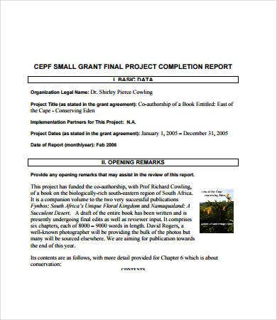 Project completion report template 327150 sample mini pdf for bank.