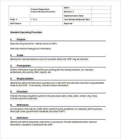 Basic Standard Operating Procedure Template  Procedure Templates