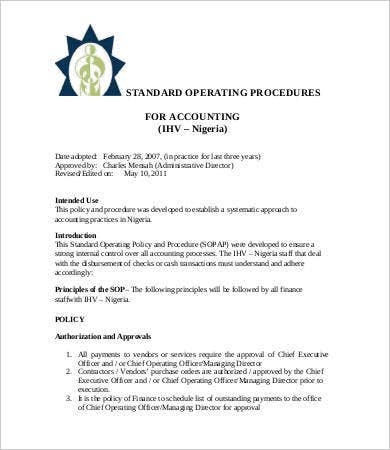 Standard Operating Procedure Template   Free Word Pdf