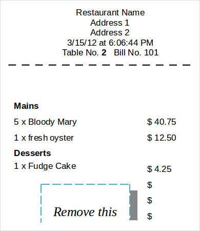 Printable Restaurant Receipt Template