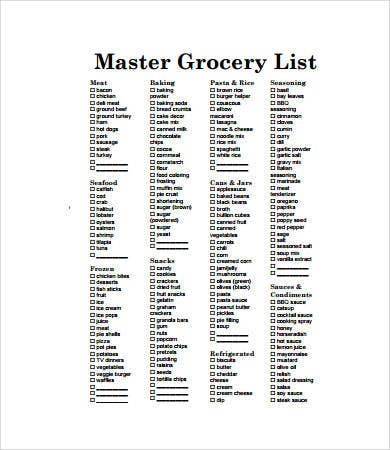 Printable Grocery List Template   Free Pdf Documents Download