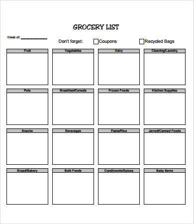 printable blank grocery list template