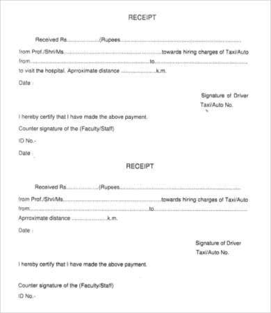 Printable Taxi Receipt Template