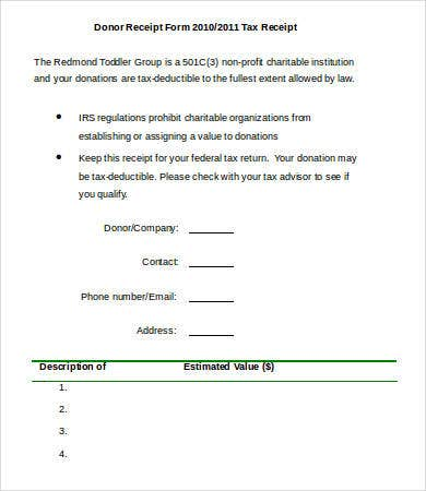 Printable Donor Receipt Form