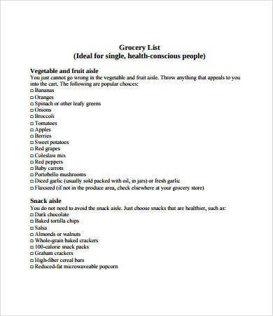 sample printable grocery list