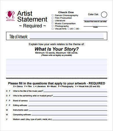 Artist Statement Examples 8 Free Pdf Documents Download Free