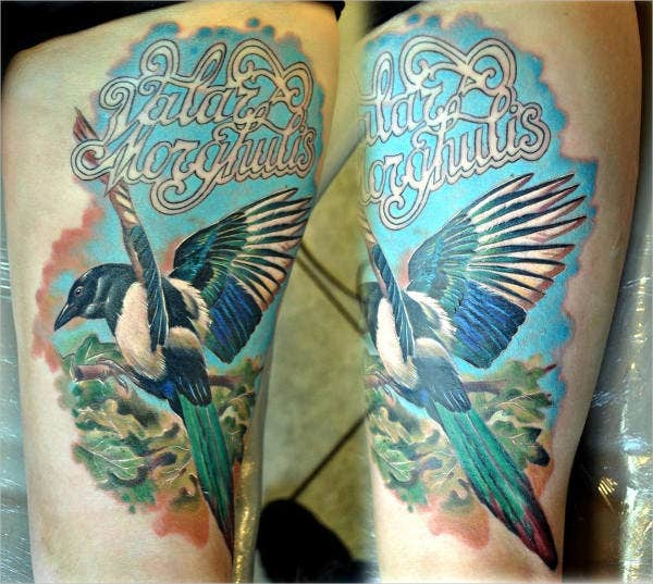 colorful bird tattoo