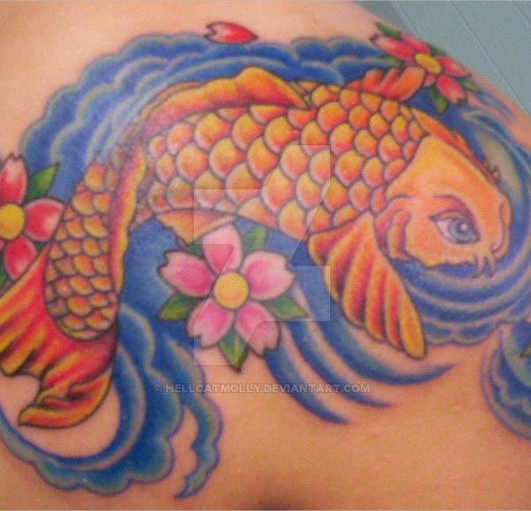 colorful koi fish tattoo design