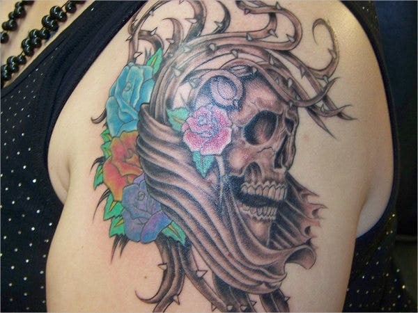 colorful skull tattoo design1
