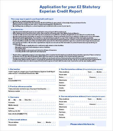 Credit Report Application Form