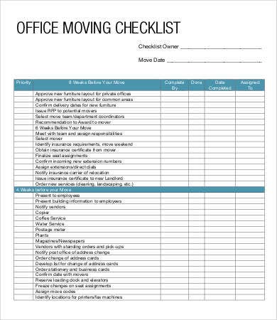 Moving Checklist Template   Free Pdf Documents Download  Free
