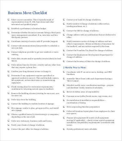 business moving checklist template
