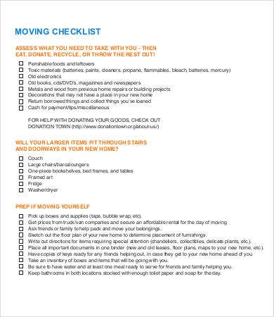free moving checklist template