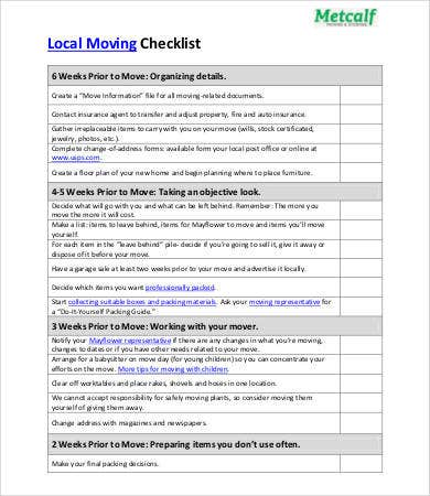 local moving checklist template
