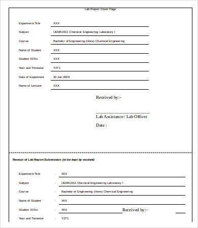 Lab Cover Page Template Word  Sample Cover Page