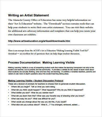 Artist Statement Examples - 8+ Free Pdf Documents Download | Free