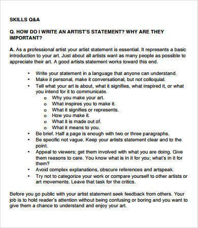 Sample Artist Statement Template Art Personal Statement Master S