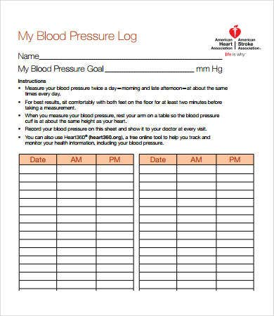 Sample Blood Pressure Log - 7+ Free PDF Download Documents | Free ...
