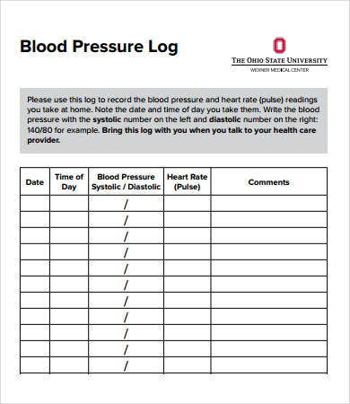 Sample blood pressure log 7 free pdf download documents for Patient tracking template