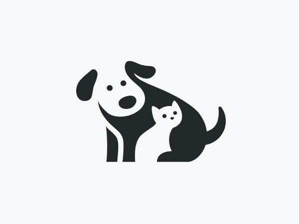 Negative Space Illustration of Dog and Cat