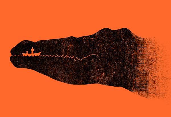 negative space crocodile illustration