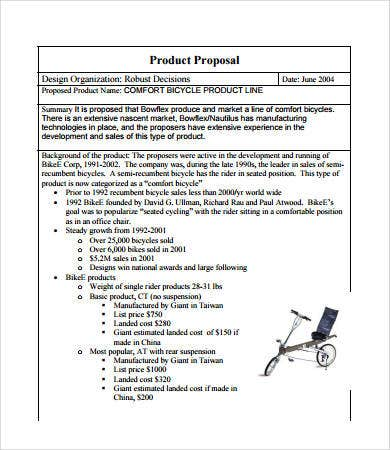 product sales proposal free