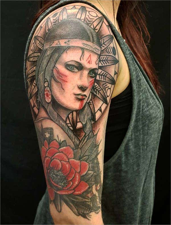 Girl Portrait Tattoo Design