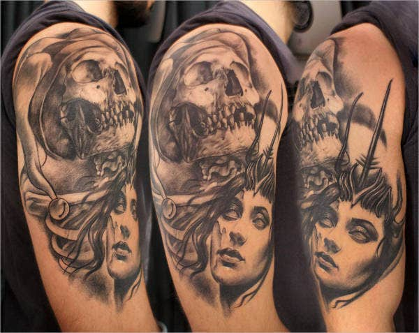 Portrait Half Sleeve Tattoo Design