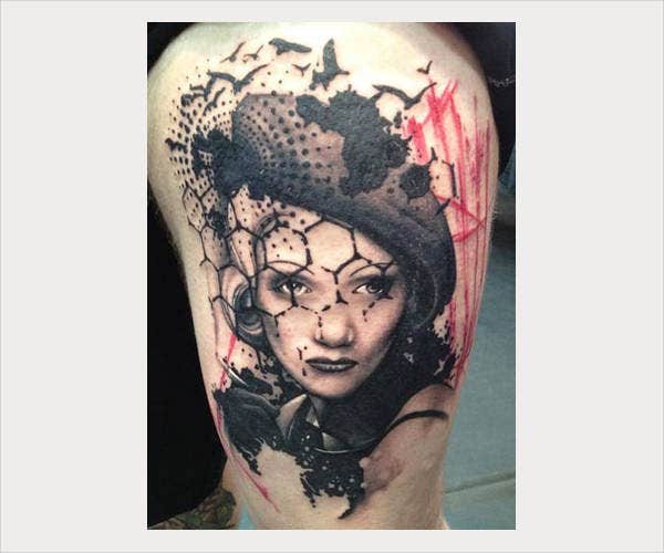 Portrait Tattoo on Thigh