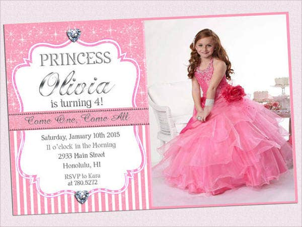 princess photo birthday invitation2