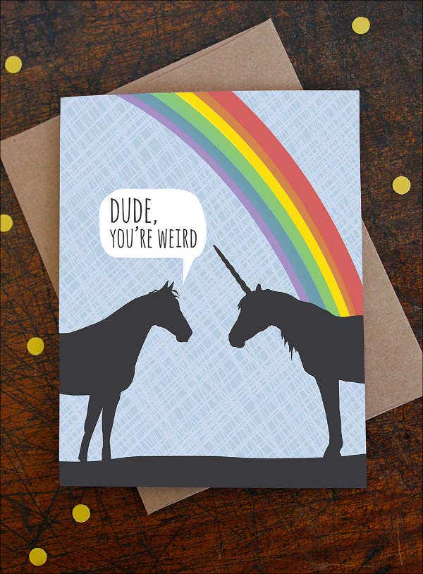 funny unicorn birthday card