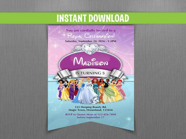 disney princess scroll birthday invitation1