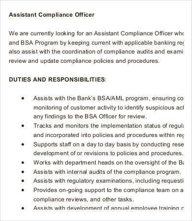 assistant compliance officer job description